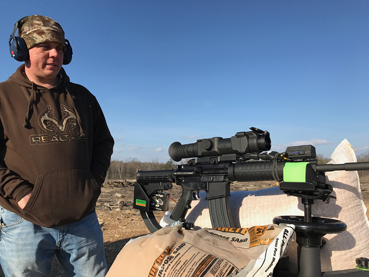 Gavin Jackson with Anderson Rifle AR 15 with PULSAR Thermal Scope