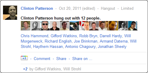 The post meeting hangout summary on Google+