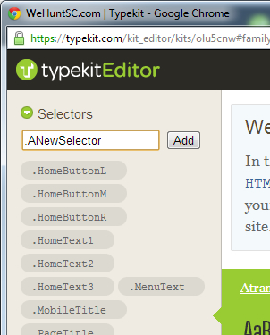 Adding a new CSS Selector in Adobe's Typekit