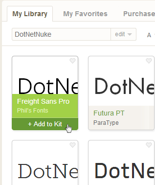 Adding a font to a kit in Adobe's Typekit