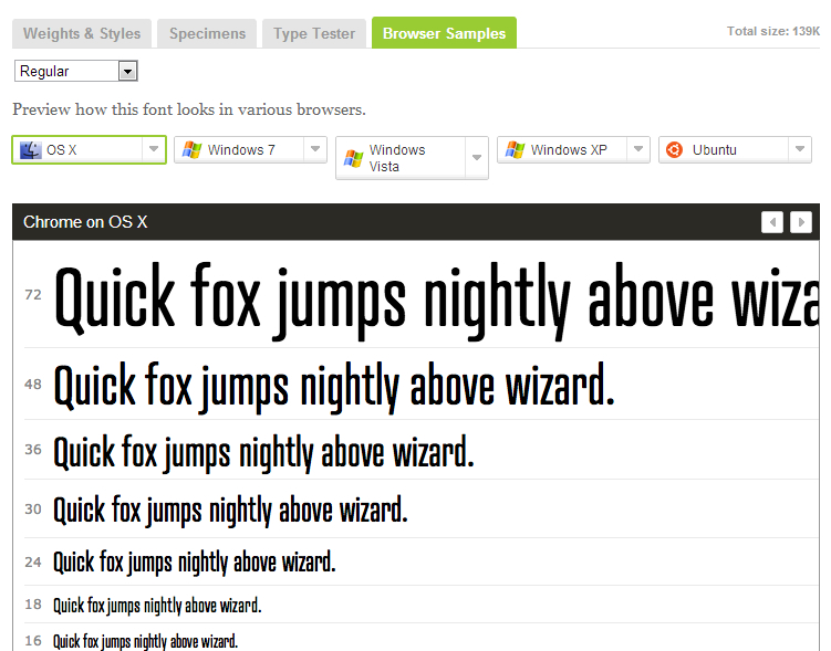 Browser Samples in Typekit