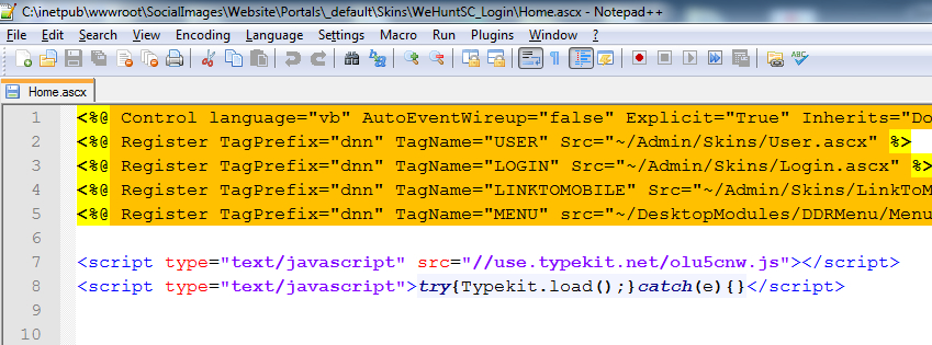 Embedding TypeKit's JavaScript References in my DotNetNuke skin