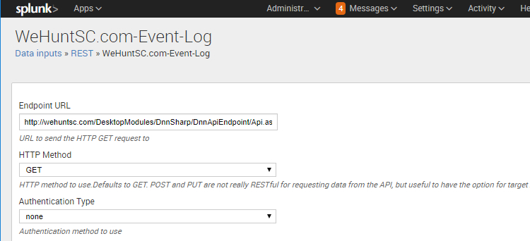 REST Configuration in Splunk