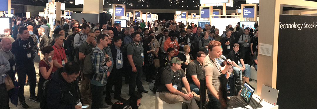 Attendees watch a demo at Microsoft Build 2018