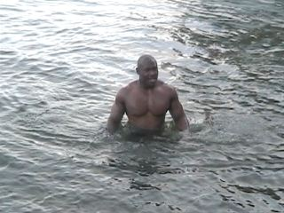 Marlon in the freezing water