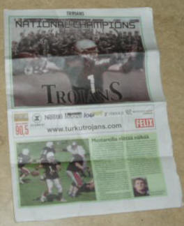 At the championship game they gave out newspapers and I was on the cover... it was like dejavu